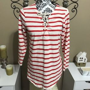 Old Navy Red Striped Lace Up Neckline Blouse M